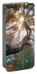 Forest With Fog And Sun Rays Portable Battery Charger