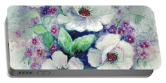 Forget-me-knots And Roses Portable Battery Charger by Hazel Holland