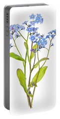 Forget-me-not Flowers On White Portable Battery Charger