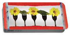 Forks And Flowers Portable Battery Charger by Paula Ayers
