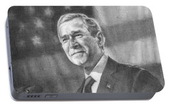 Former Pres. George W. Bush With An American Flag Portable Battery Charger by Michelle Flanagan