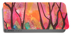 Portable Battery Charger featuring the painting Forrest Energy II by Shadia Derbyshire