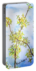 Portable Battery Charger featuring the painting Forsythia by Monique Faella