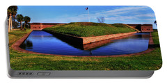 Fort Pulaski Moat - Demilune Wall 001 Portable Battery Charger by George Bostian