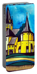 Portable Battery Charger featuring the painting Fortified Medieval Church In Transylvania By Dora Hathazi Mendes by Dora Hathazi Mendes