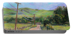 Portable Battery Charger featuring the painting Fortini Trailhead San Vicente San Jose California Landscape 13 by Xueling Zou