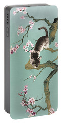 Fortune Cat In Cherry Tree Portable Battery Charger