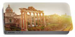 Forum - Roman Ruins In Rome At Sunrise Portable Battery Charger by Anastasy Yarmolovich