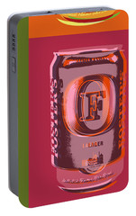 Portable Battery Charger featuring the digital art Foster's Lager Pop Art by Jean luc Comperat