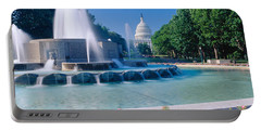 Fountain And Us Capitol Building Portable Battery Charger by Panoramic Images