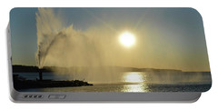 Portable Battery Charger featuring the photograph Fountain At Sunrise  by Lyle Crump