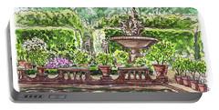 Portable Battery Charger featuring the painting Fountain Island Boboli Gardens Florence Italy by Irina Sztukowski