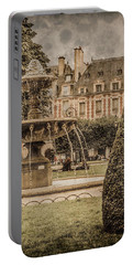 Paris, France - Fountain, Place Des Vosges Portable Battery Charger
