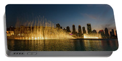 Fountains At Dusk Portable Battery Charger