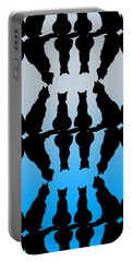Four Black Cats On A Blue Background Portable Battery Charger