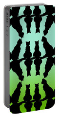 Four Black Cats On A Green Background Portable Battery Charger