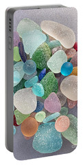 Four Marbles And A Rainbow Of Beach Glass Portable Battery Charger