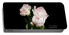 Four Pink Tulips And A Bud On Black Portable Battery Charger