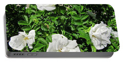 Portable Battery Charger featuring the photograph Four White Roses by Stephanie Moore