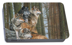 Portable Battery Charger featuring the painting Four Wolves by David Stribbling