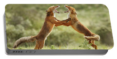 Fox Trot - Red Foxes Fighting Portable Battery Charger