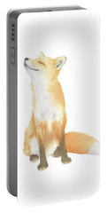 Portable Battery Charger featuring the painting Fox Watercolor by Taylan Apukovska