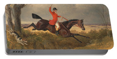 Foxhunting Clearing A Ditch Portable Battery Charger by John Frederick Herring