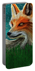 Portable Battery Charger featuring the digital art Foxxy by Iowan Stone-Flowers