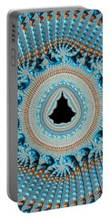 Fractal Art Crochet Style Blue And Gold Portable Battery Charger