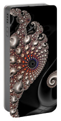 Portable Battery Charger featuring the digital art Fractal Contact - Silver Copper Black by Matthias Hauser