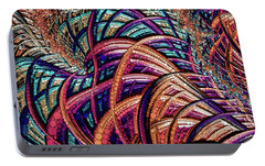 Portable Battery Charger featuring the painting Fractal Farrago by Susan Maxwell Schmidt
