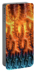 Portable Battery Charger featuring the digital art Fractal Pattern Orange Brown Aqua Blue by Matthias Hauser