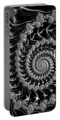 Fractal Spiral Gray Silver Black Steampunk Style Portable Battery Charger