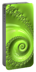 Portable Battery Charger featuring the digital art Fractal Spiral Greenery Color by Matthias Hauser