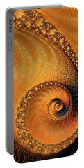 Portable Battery Charger featuring the digital art Fractal Spiral Orange And Brown by Matthias Hauser