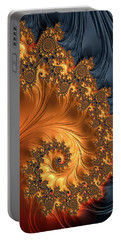 Portable Battery Charger featuring the digital art Fractal Spiral Orange Golden Black by Matthias Hauser