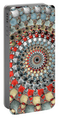 Fractal Spiral Red Grey Light Blue Square Format Portable Battery Charger