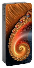Portable Battery Charger featuring the digital art Fractal Spiral With Warm Orange And Red Tones by Matthias Hauser