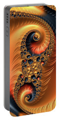 Portable Battery Charger featuring the digital art Fractal Spirals With Warm Colors Orange Coral by Matthias Hauser