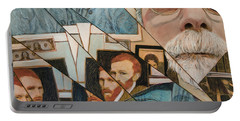 Portable Battery Charger featuring the painting Fractured Lives by Ron Richard Baviello