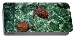 Fragile Underwater World. Sea Turtles In A Crystal Water. Maldives Portable Battery Charger