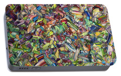 Portable Battery Charger featuring the painting Fragmented Spring by James W Johnson