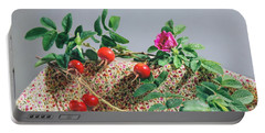 Portable Battery Charger featuring the photograph Fragrant Rugosa Rose With Rosehips And Leaves by Nancy Lee Moran