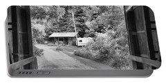 Framed By The Wilkins Mill Covered Bridge Black And White Portable Battery Charger