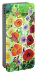 Portable Battery Charger featuring the painting Framed In Hollyhocks by Kathy Braud