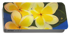 Frangipani With Lady Bug Portable Battery Charger by Sandra Phryce-Jones