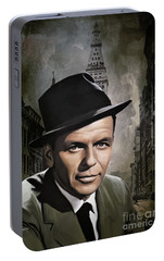 Portable Battery Charger featuring the painting  Frank Sinatra by Andrzej Szczerski