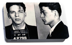 Frank Sinatra Mug Shot Horizontal Portable Battery Charger by Tony Rubino