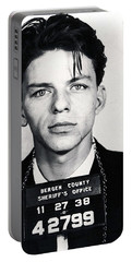Frank Sinatra Mug Shot Vertical Portable Battery Charger by Tony Rubino