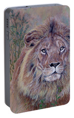 Portable Battery Charger featuring the painting Frank by Tom Roderick
